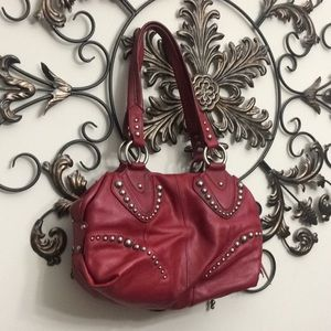 B. Makowsky Taipei claret red leather satchel